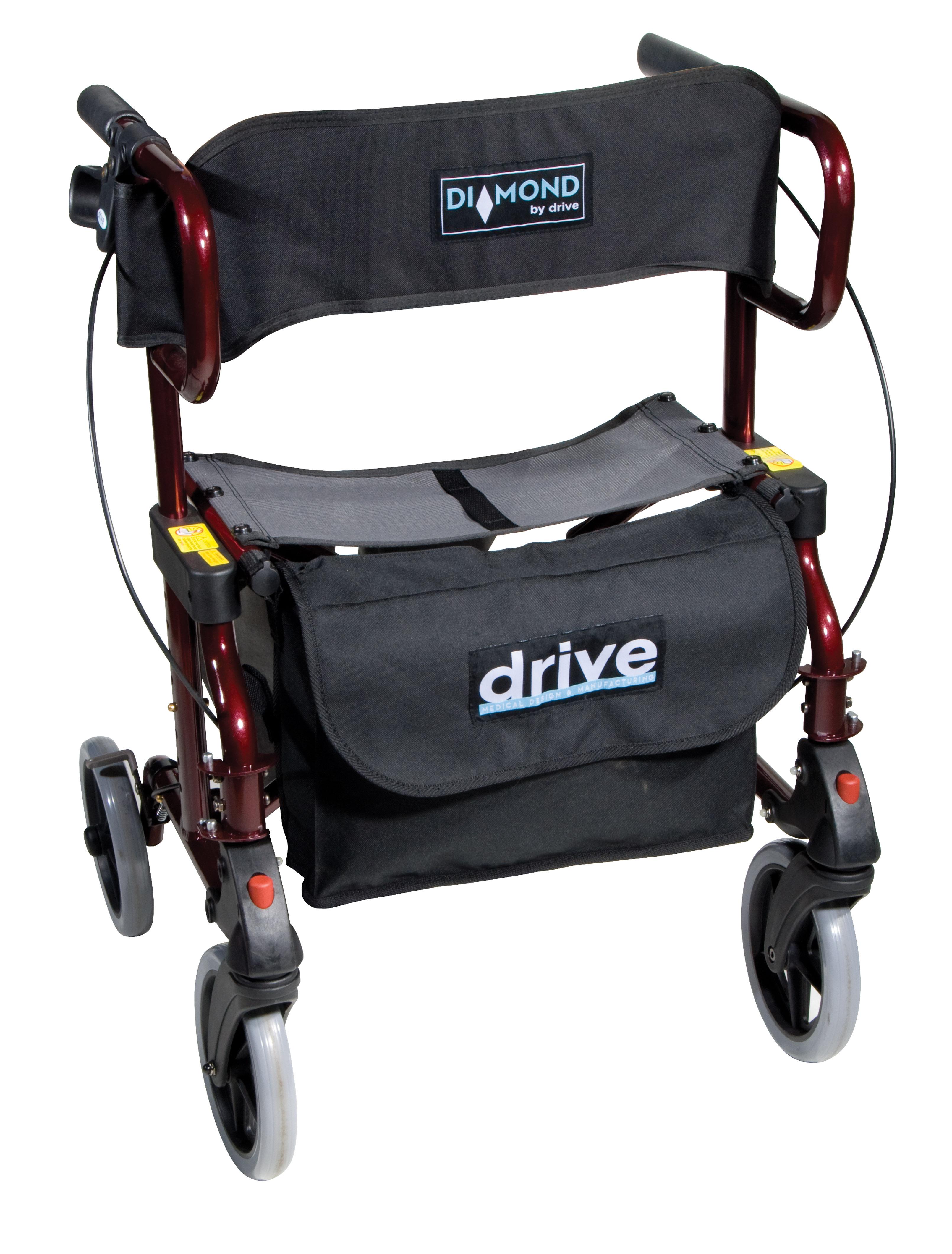 Diamond Deluxe Aluminum Transport Wheelchair Rollator 745R Drive